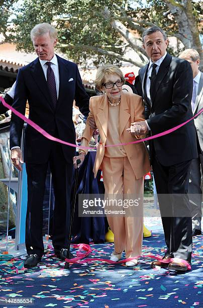 Chairman of the Board of Trustees for the Ronald Reagan Presidential Foundation Frederick J Ryan Jr former First Lady Nancy Reagan and Walt Disney Co...