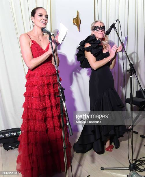 Chairman of the Board US Katharina Harf and Elizabeth Manice speak at the 2017 DKMS Blood Ball at Spring Place on October 26 2017 in New York City