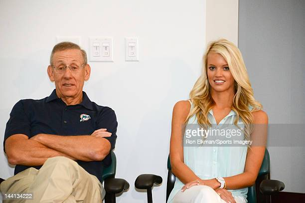Chairman of the Board/Managing General Partner Stephen M Ross of the Miami Dolphins and Lauren Tannehill look on as Ryan Tannehill is introduced at a...