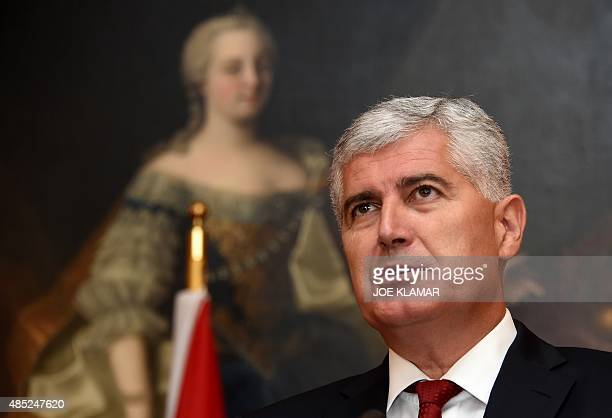 Chairman of the Bosnian presidency Dragan Covic attends the signing ceremony of a border treaty between BosniaHerzegovina and Montenegro in Vienna...