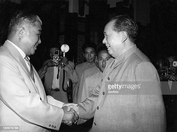 Chairman of the Central Committee of the Chinese Communist Party Mao Tsetung meeting with Choi Yong Kun President of the Presidium of the Supreme...