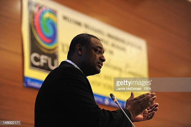 Chairman of the CFU Normalisation Committee Jeffrey Webb adresses congress during the XXXV CFU Ordinary Congress at the Boscolo New York Palace Hotel...