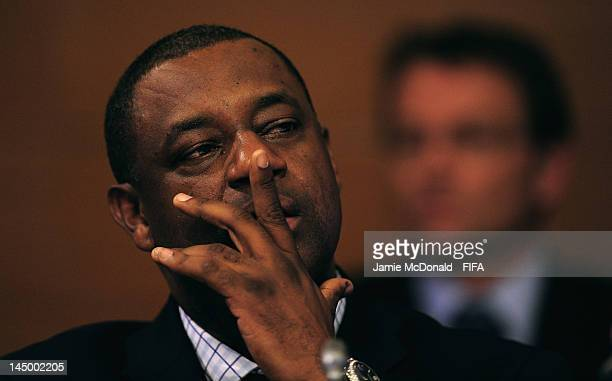 Chairman of the CFU Normalisation Committee Jeffrey Webb looks on during the XXXV CFU Ordinary Congress at the Boscolo New York Palace Hotel on May...
