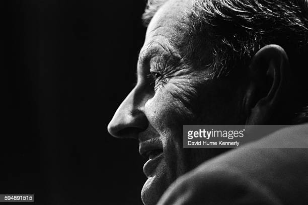Chairman of the Chase Manhattan Corporation David Rockefeller smiles during a meeting circa 1981 in Tokyo Japan