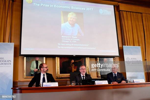 Chairman of the comittee for the Nobel Economics Prize Per Stromberg Secretary General of the Royal Swedish Academy of Sciences Goran Hansson and...