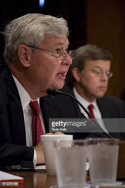 Chairman of the Commission on the Prevention of Weapons of Mass Destruction Proliferation and Terrorism Bob Graham left and commission vice chair Jim...