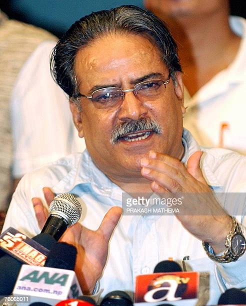 Chairman of the Communist Party of Nepal Prachanda gestures as he speaks during a press conference in Kathmandu 12 August 2007 During the conference...
