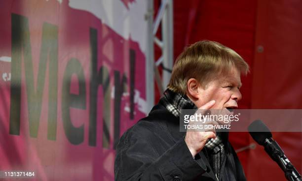 Chairman of the Confederation of German Trade Unions Reiner Hoffmann attends a demonstration on the so-called Equal Pay Day in Berlin on March 18,...