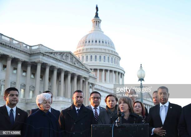 Chairman of the Congressional Hispanic Caucus Rep Michelle Lujan Grisham speaks at a press conference outside the US Capitol with other members of...