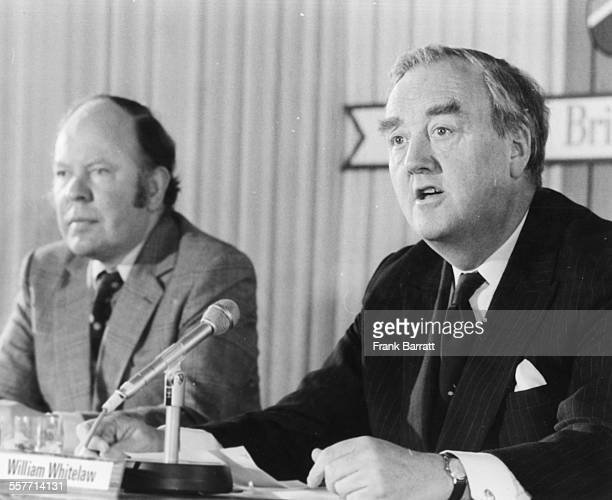 Chairman of the Conservative Party William Whitelaw with MP Reg Prentice speaking at a press conference at the Waldorf Hotel London May 19th 1975