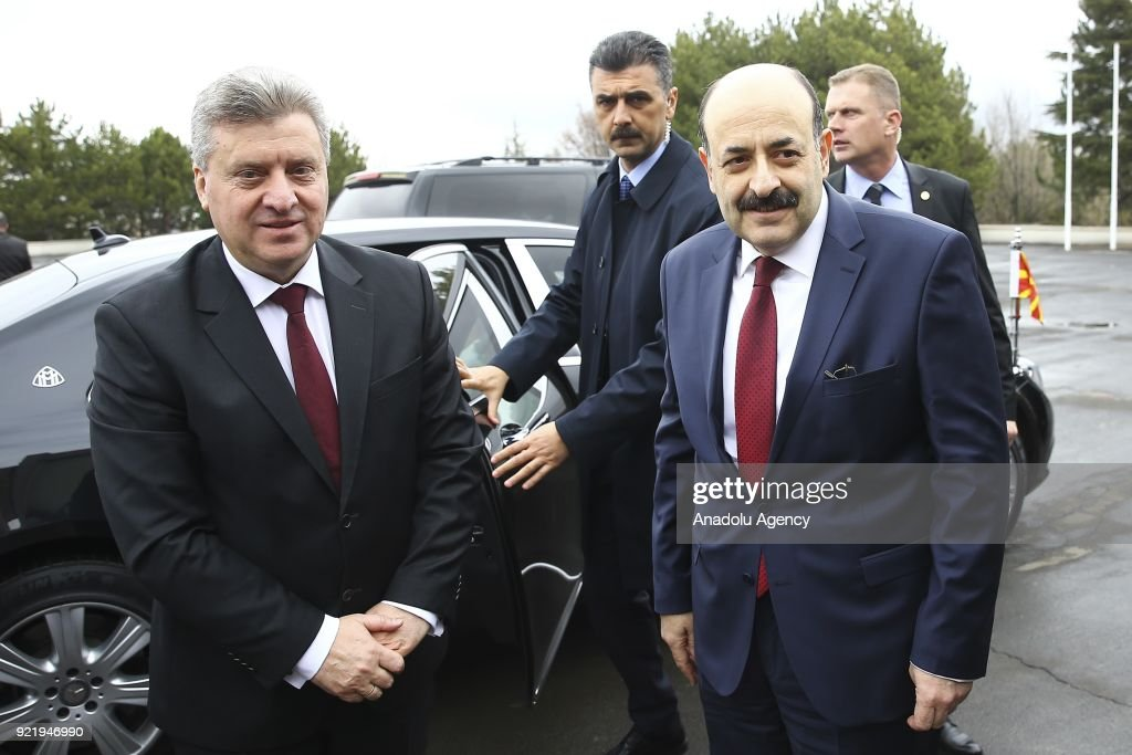 Chairman of the Council of Higher Education of Turkey, Prof. Dr. Yekta Sarac (R) welcomes President of Macedonia Gyorge Ivanov (L) in Ankara, Turkey on February 21, 2018.