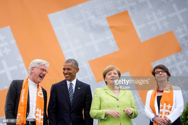 Chairman of the Council of the EKD and Bavarian regional Bishop Heinrich BedfordStrohm former President of the United States of America Barack Obama...