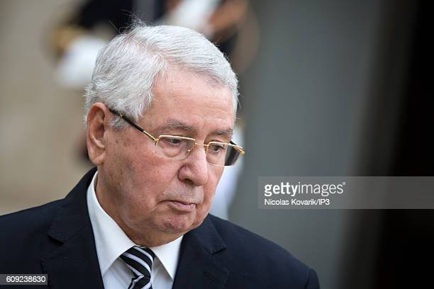 Chairman of the Council of the Nation of the Democratic Republic of Algeria Abdelkader Bensalah speaks to the media after a meeting with French...