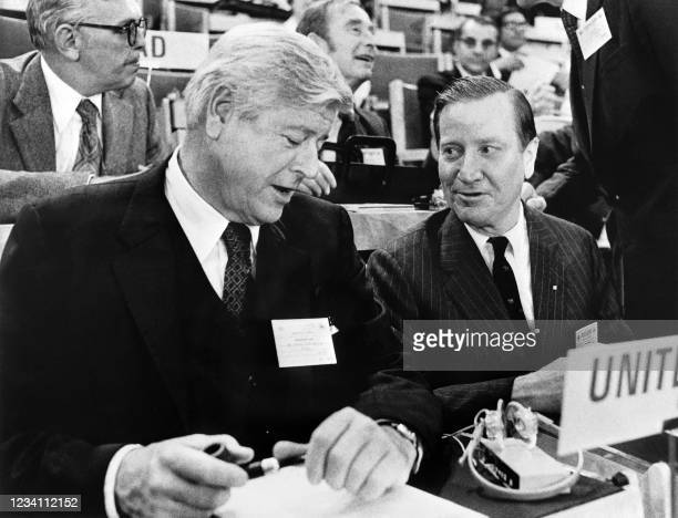 Chairman of the Council on Environmental Quality Russell E. Train and United States Secretary of the Interior Rogers Morton attend the United Nations...
