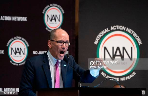 Chairman of the Democratic National Committee Tom Perez speaks during a gathering of the National Action Network on April 3 2019 in New York The...