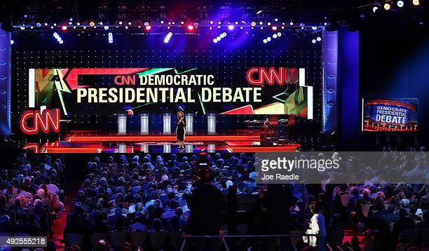 Chairman of the Democratic National Committee US Rep Debbie Wasserman Schultz speaks before a Democratic presidential debate sponsored by CNN and...