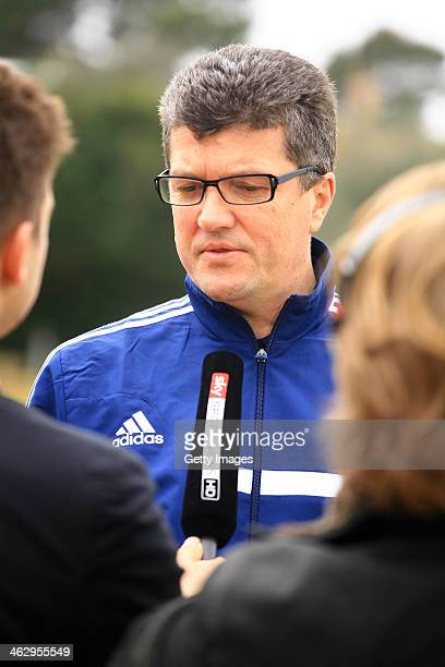 Chairman of the DFB Referee committee Herbert Fandel talks to the media during the DFB Referee Seminar at the HILTON Sa Torre Mallorca on January 16...