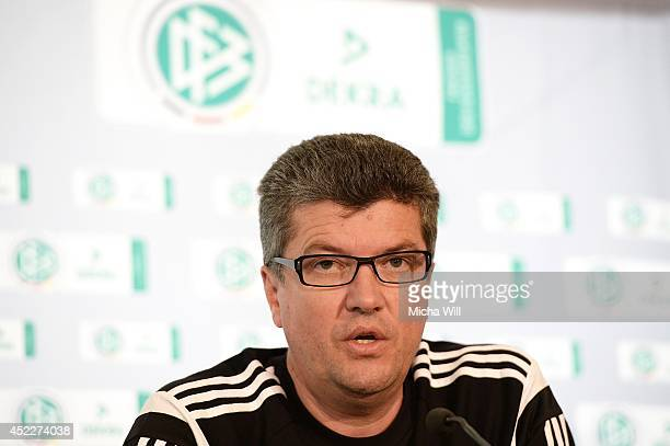 Chairman of the DFBRefereeCommitteee Herbert Fandel attends a press conference at Sporthotel Achental on July 17 2014 in Grassau Germany