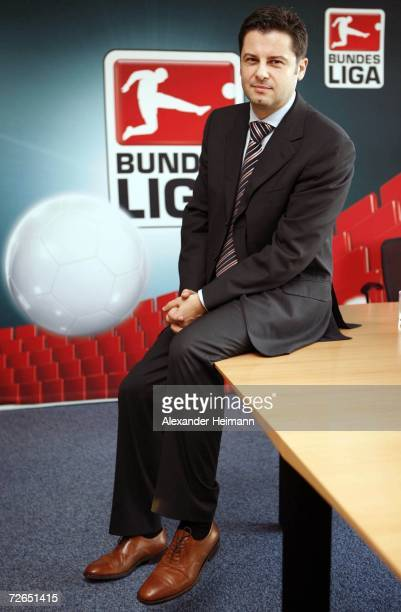 Chairman of the DFL Christian Seifert poses during a press conference of the German Football League DFL and the fan representative of the Bundesliga...
