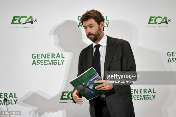 Chairman of the European Club Association Andrea Agnelli arrives for a press conference, on September 10, 2019 in Geneva, at the end of the general...
