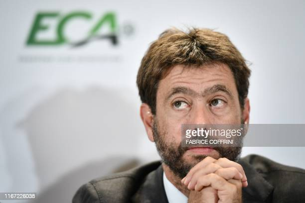 Chairman of the European Club Association Andrea Agnelli gives a press conference, on September 10, 2019 in Geneva, at the end of the general...