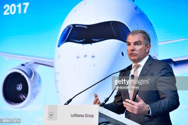 Chairman of the Executive Board and CEO Lufthansa Group Carsten Spohr addresses the media at a press conference where Lufthansa announces the launch...