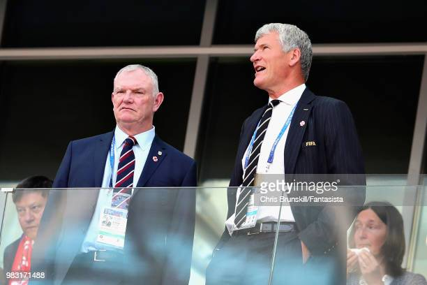 Chairman of the FA Greg Davies and UK VicePresident of FIFA David Gill look on during the 2018 FIFA World Cup Russia group G match between England...