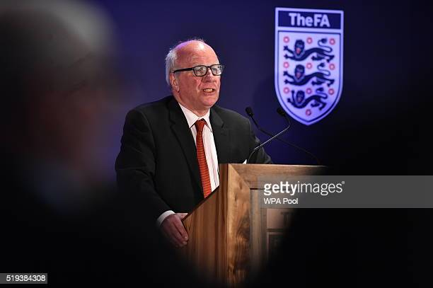 Chairman of the FA Greg Dyke gives a speech as he attends a Council Lunch to celebrate the 10th Anniversary of the HRH Duke of Cambridge being...