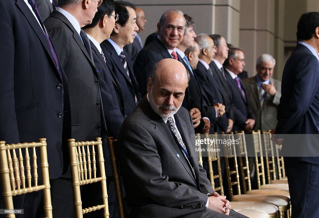 Chairman of the Federal Reserve Ben Bernanke participates in a group photo at the International Monetary Fund on April 23, 2010 in Washington, DC. Finance Ministers and Central Bank Governors are attending spring meetings at the IMF and World Bank Headquarters.