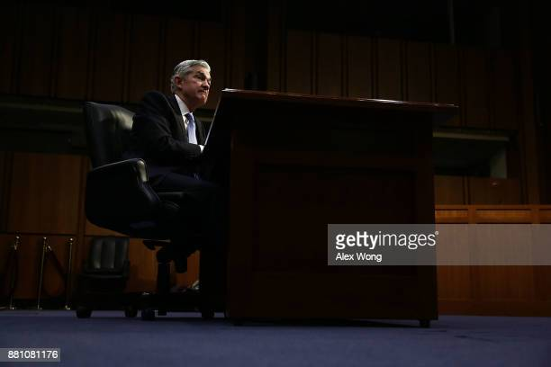 Chairman of the Federal Reserve nominee Jerome Powell testifies during his confirmation hearing before the Senate Banking Housing and Urban Affairs...