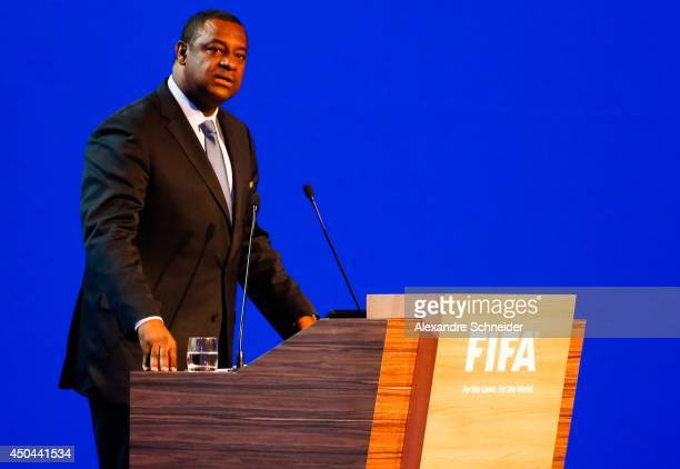 Chairman of the FIFA Jeffrey Webb speaks to the audience during the 64th FIFA Congress at the Expocenter Transamerica on June 11 2014 in Sao Paulo...