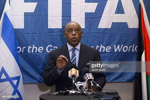 Chairman of the FIFA monitoring committee for Israel and Palestine Tokyo Sexwale speaks during a press conference in the Israeli Mediterranean...