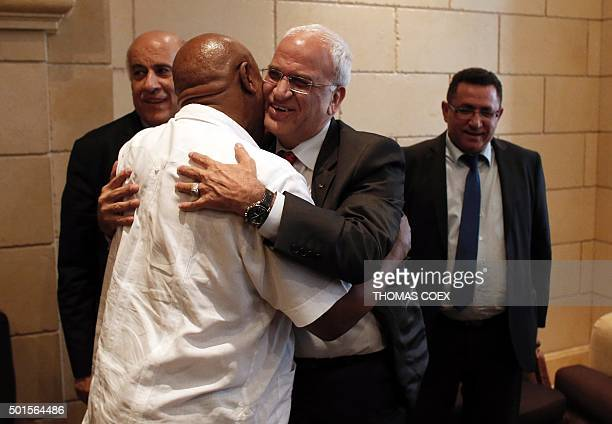 Chairman of the FIFA Monitoring Committee IsraelPalestine Tokyo Sexwale geets Palestinian Chief negociator Saeb Erakat near Palestinian Football...