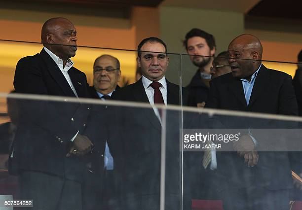 Chairman of the FIFA Monitoring Committee IsraelPalestine Tokyo Sexwale stands next to FIFA vice president for Asia Prince Ali bin alHussein of...