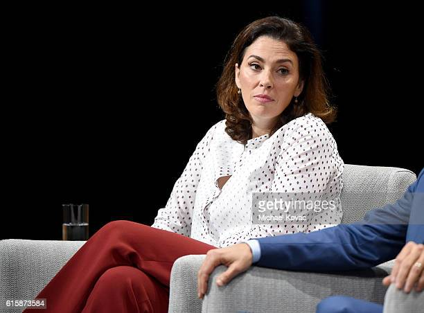 Chairman of the fine arts division at Sotheby's Amy Cappellazzo speaks onstage during 'Pixels at an Exhibition The New Art Market' at the Vanity Fair...