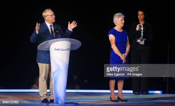 Chairman of the Gold Coast 2018 Commonwealth Games Corporation Peter Beattie and President of the Commonwealth Games Federation Louise Martin during...