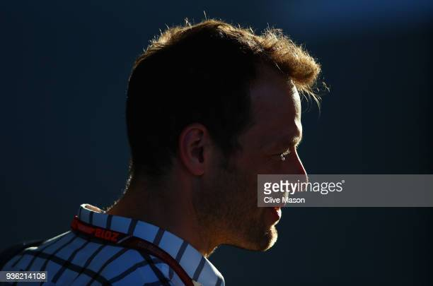 Chairman of the Grand Prix Drivers Association Alexander Wurz looks on in the Paddock during previews ahead of the Australian Formula One Grand Prix...