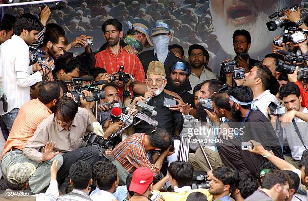 Chairman of the hardline faction of Indian administered Kashmir's All Parties Hurriyat Confrence Syed Ali Geelani addresses a rally organised to...