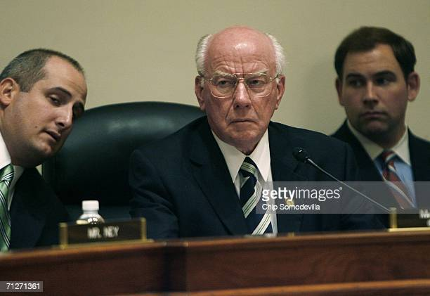 Chairman of the House Administration Committee Vernon Ehlers listens to testimony on Capitol Hill June 22 2006 in Washington DC Hyde was testifying...