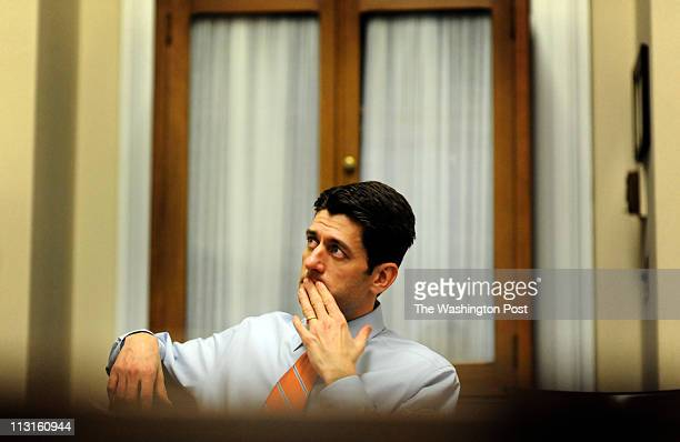 Chairman of the House Finance Committee Paul Ryan works to craft a budget with staff on Capitol Hill March 10 2011