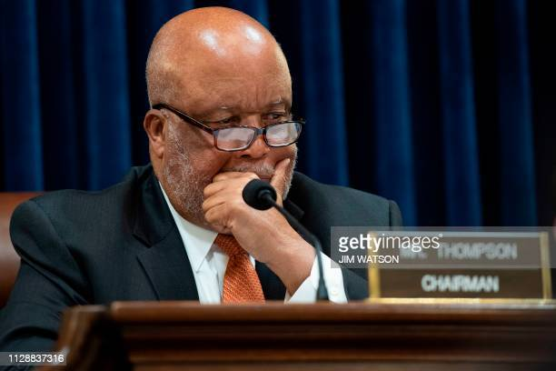 Chairman of the House Homeland Security Committee Bennie Thompson DMS listens as Homeland Security Secretary Kirstjen Nielsen testifies before the...