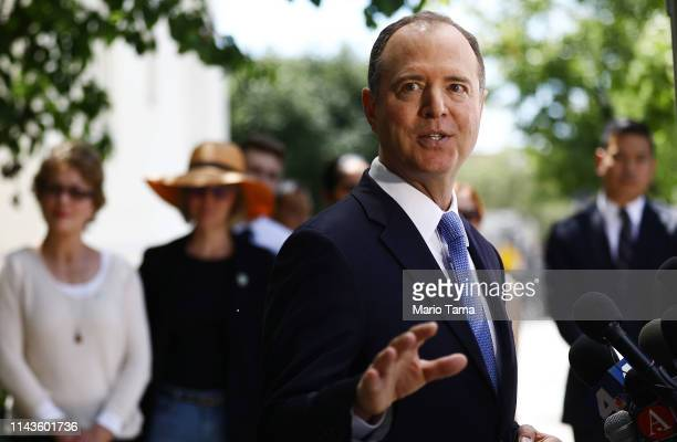 Chairman of the House Intelligence Committee Adam Schiff speaks at a press conference discussing today's release of the redacted Mueller report on...