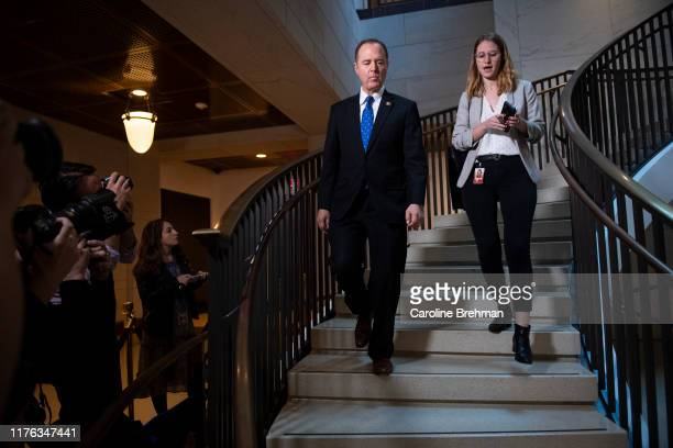 Chairman of the House Intelligence Committee Rep Adam Schiff DCalif arrives for the testimony of US Ambassador to the European Union Gordon Sondland...