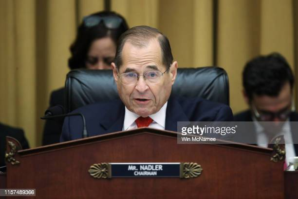 Chairman of the House Judiciary Committee Rep Jerry Nadler questions former Special Counsel Robert Mueller as he testifies about his report on...