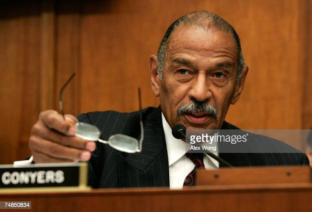 Chairman of the House Judiciary Committee Rep John Conyers speaks during a hearing before the House Commercial and Administrative Law Subcommittee of...