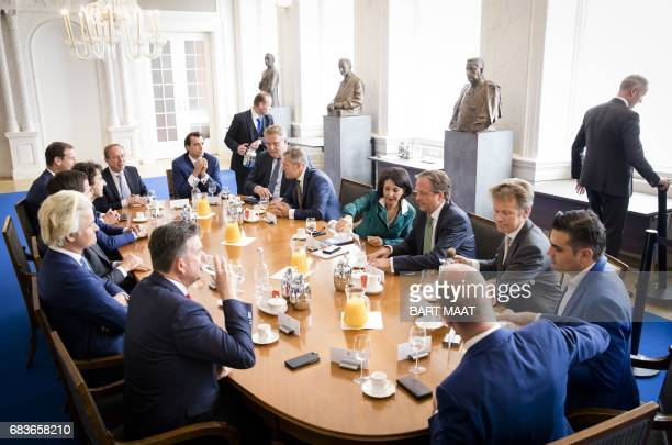 Chairman of the House of Representatives Khadija Arib receives the head of the parties at the Binnenhof The Hague on May 16 a day after the stalled...
