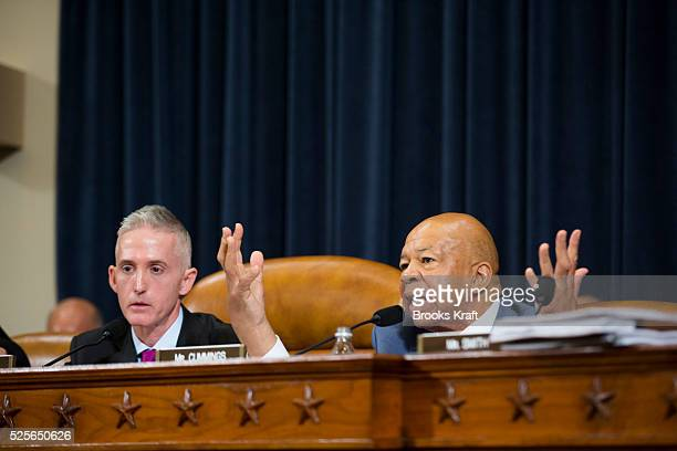 Chairman of the House Select Committee on Benghazi Trey Gowdy and US Democratic Representative from Maryland Elijah Cummings have a heated discussion...