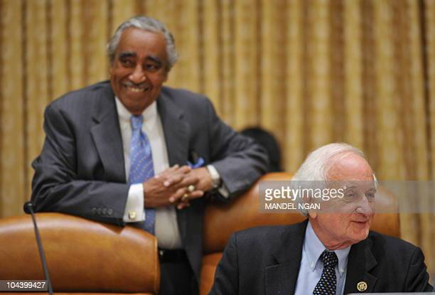 Chairman of the House Ways and Means Committee Congressmen Sander M Levin and Charles Rangel attend the committee markup hearing on the Currency...