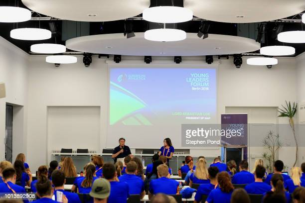 Chairman of the IAAF Sebastian Coe visits the 6th European Athletics Young Leaders Forum on the sidelines of the 24th European Athletics...
