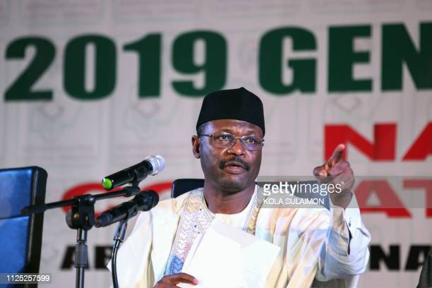 Chairman of the Independent National Electoral Commission Mahmood Yakubu speaks during a meeting with stakeholders and international election...